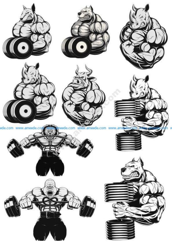 Atletic animals vector pack