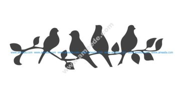 Beautiful Birds on a Branch Stencil Vector
