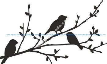 Birds on Branch silhouette stencil