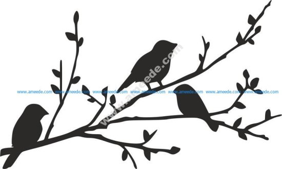 Birds on Branch silhouette stencil