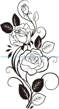 Black And White Flowers Shape Pattern Vector Art