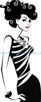Black And White Illustration Of Woman Vector