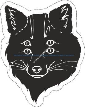 Black Fox Sticker Vector Art