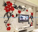 Butterfly tv wall acrylic 3d relief wall sticker
