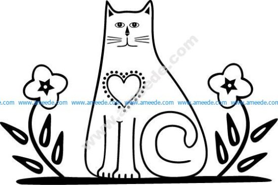 Cat with Flowers EPS