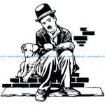 Charlie Chaplin Charlot Dog life Sticker