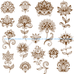 Collection of mehndi style ornamental flowers