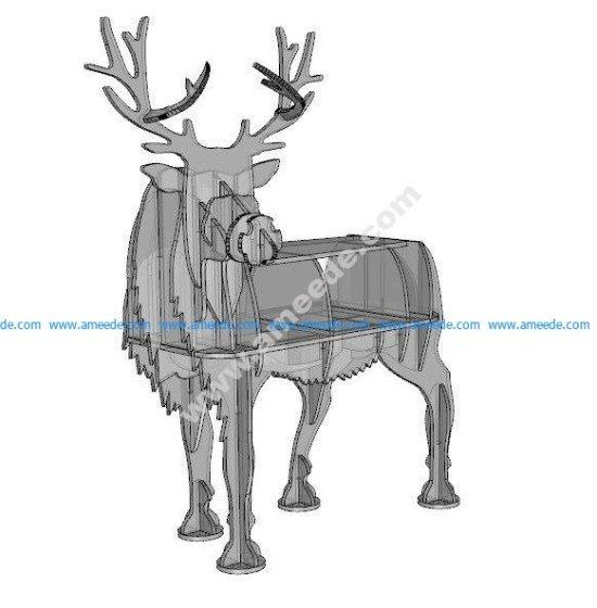 Deer 2D animals design plan 10mm