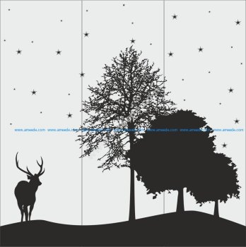 Deer And Tree Silhouette Vector Art