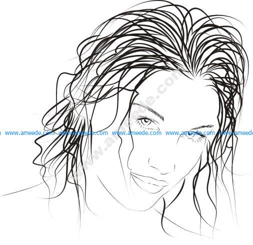 Drawn woman vector