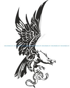 Eagle with Snake in Claws Vector