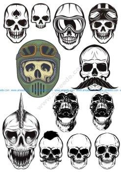 Evil Skull Vector Set