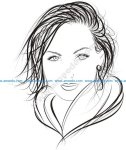 Face of Pretty Woman Logo Vector
