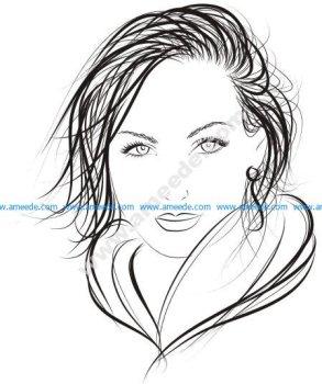Face of Pretty Woman Logo Vector