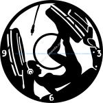 Girl DJ Music Headphones Clock Vinyl Record