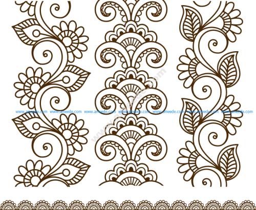 Henna Tattoo Mehndi Flower Template