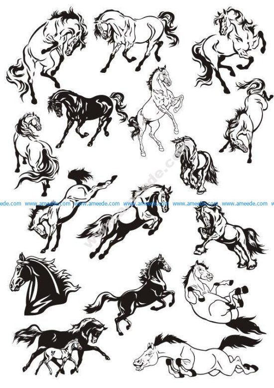 Horse Stickers Vector Art Collection