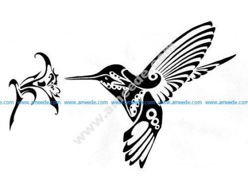 Hummingbird and Flower vector art