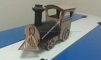 Laser-Cut Locomotive Wooden Toy