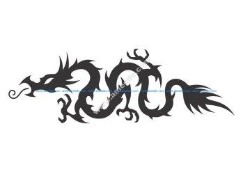 Medieval Hollow Tribal Dragon Tattoo Vector