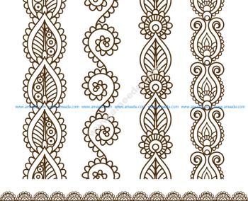 Mehndi style ornamental border