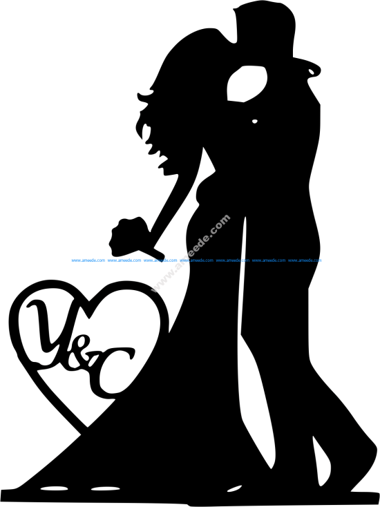 Mr and Mrs Silhouette Black Bride and Groom Vector