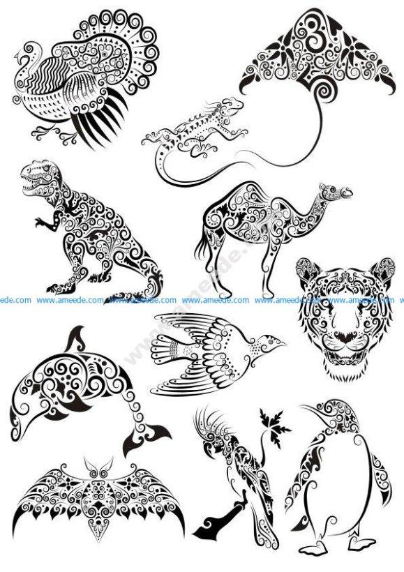 Ornament Animals Tattoo Vectors Pack – Download Free Vector