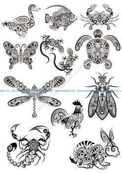 Ornament Animals Tribal Tattoo Designs