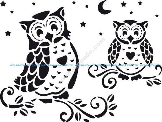 Owl Home Decor Stencil Vector
