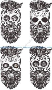 Painted Bearded Mustache Skull
