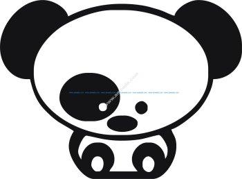 Panda Car Sticker Vector