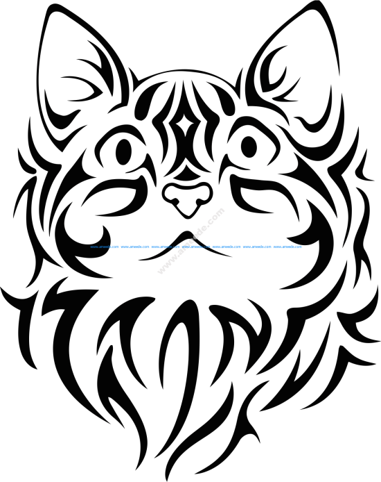 Pretty Tribal Cat Face Silhouette Vector