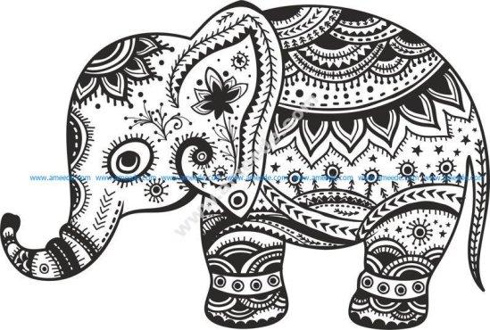 Retro Floral Elephant