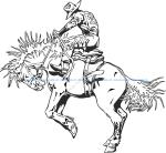 Rodeo rider western cowboy line art