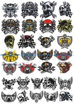 Skull In Motorcycle Helmet Vector Pack