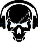 Skull with headphones vector art