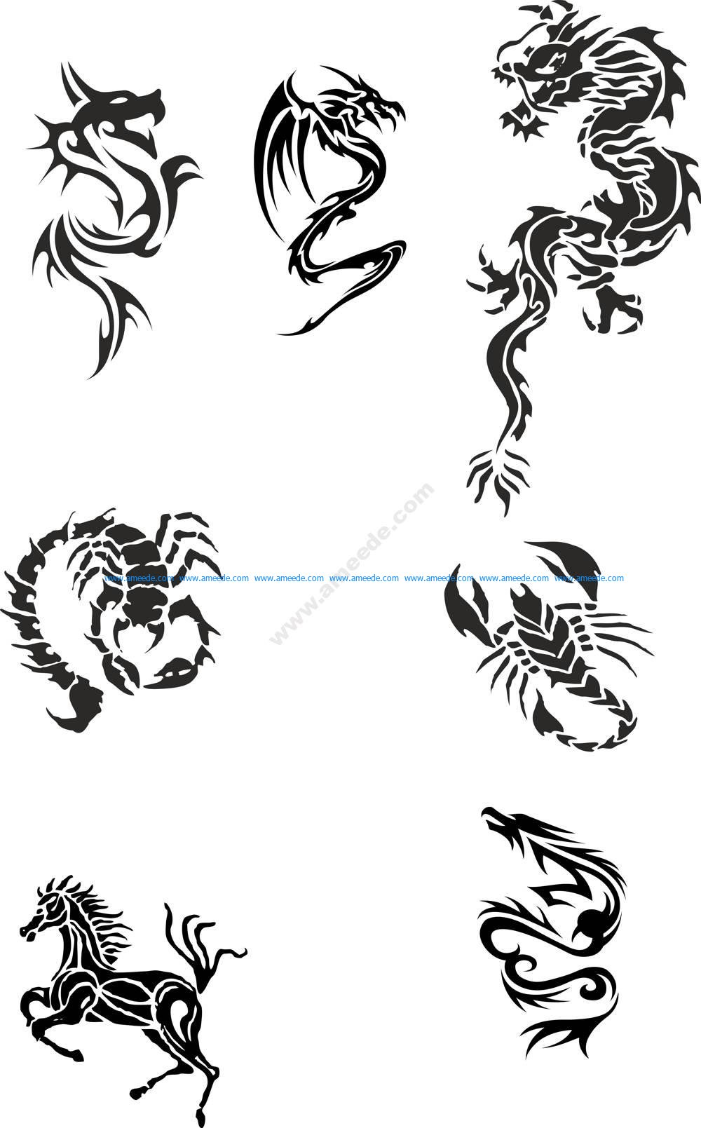 Tribal Dragon Tattoo Designs Vector Pack – Download Free Vector