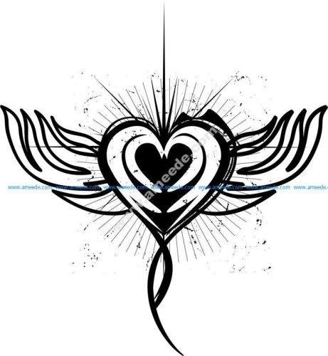 Winged Heart Tattoo Design