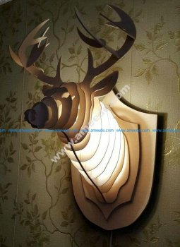 Wooden light decorative deer head