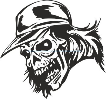 Zombie Skull with Cap Sticker Vector