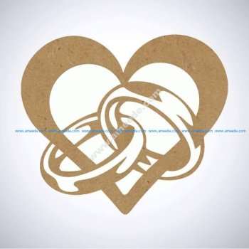 Ring Heart Cuttable Design Cut File DXF File