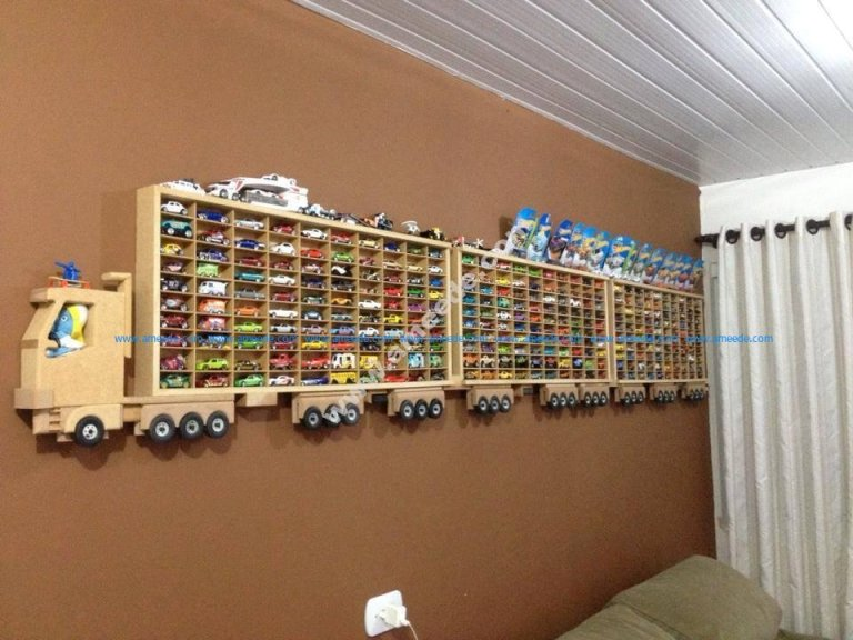 Toy Car Storage Rack for 300 Trucks Free Vector