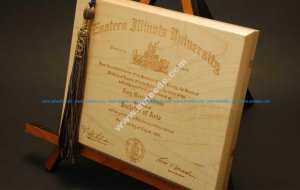 Engraving a Diploma on a Wood Plaque