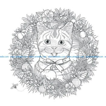 Mandala a colorier gratuit chat dans couronne