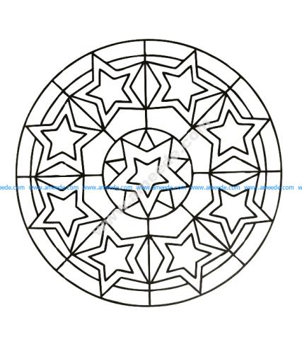 Mandala a colorier gratuit etoiles du bonheur