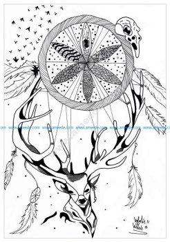 Mandala a imprimer cerf dreamcatcher