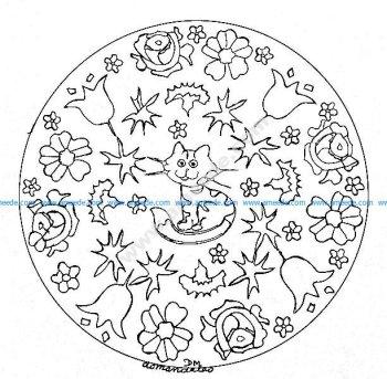 Mandala gratuit petit chat et fleurs