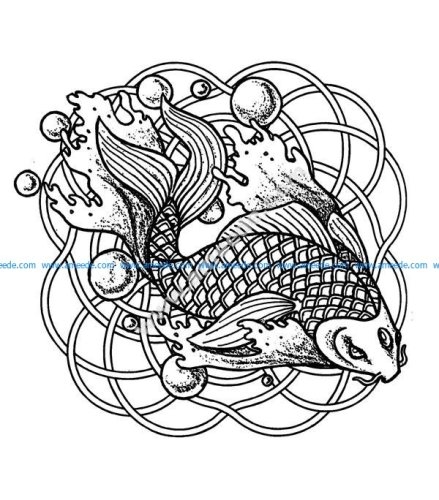 Mandala poissons et bulles