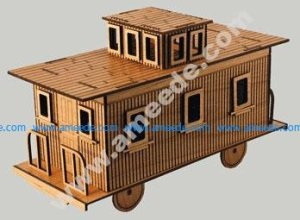 Model Train Caboose Cut with a Laser