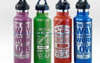 Powder-Coated Stainless Steel Water Bottle Engraved with an Epilog Laser System